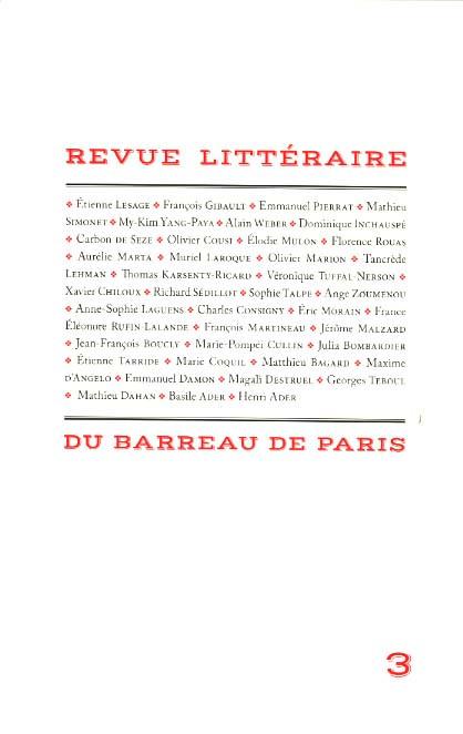 Revue littéraire du barreau de Paris N°3