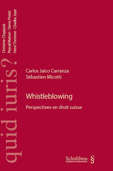 Whistleblowing. Perspectives en droit suisse