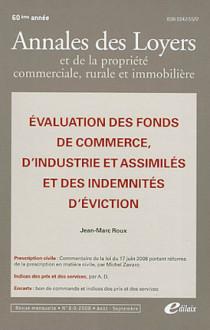 Annales des loyers 60e année, août-septembre 2008 N°8-9