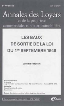 Annales des loyers, 65ème année, juin-juillet 2013 N°6-7
