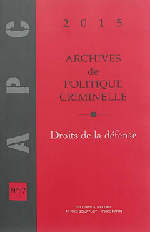 Archives de politique criminelle 2015
