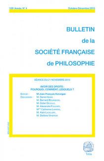 Bulletin de la société française de philosophie, 109e année, octobre-décembre 2015 N°4