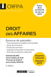 Droit des affaires - CRFPA - Examen national Session 2019 [EBOOK]