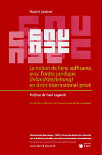 La notion de liens suffisants avec l'ordre juridique (Inlandsbeziehung) en droit international privé