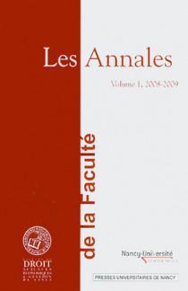 Les Annales de la Faculté de Droit, Sciences économiques et Gestion de Nancy 2008-2009