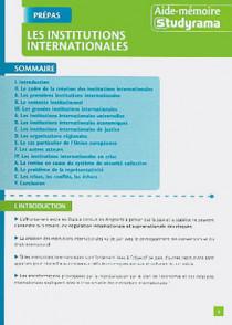 Les institutions internationales (dépliant)