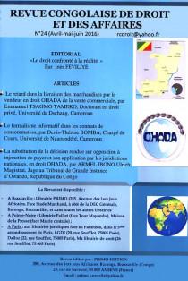 Revue congolaise de droit des affaires, avril-juin 2016 N° 24