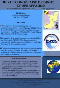 Revue congolaise de droit des affaires, juillet-septembre 2016 N° 24