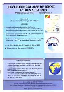 Revue congolaise de droit et des affaires, avril-juin 2015 N°20