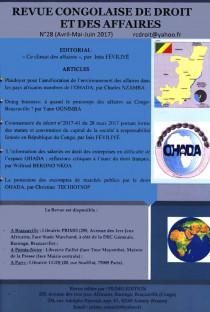 Revue congolaise de droit et des affaires, avril-juin 2017 N°28