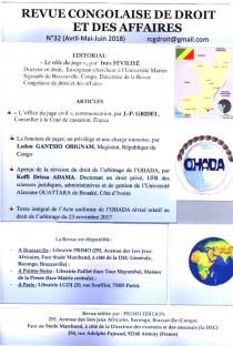 Revue congolaise de droit et des affaires, avril-juin 2018 N°32