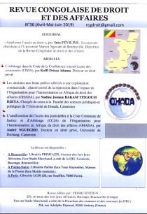 Revue congolaise de droit et des affaires, avril-juin 2019 N°36