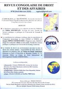 Revue congolaise de droit et des affaires, avril-juin 2020 N°40