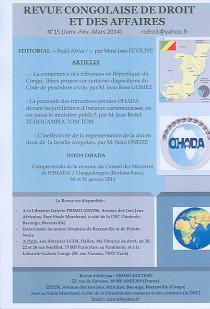 Revue congolaise de droit et des affaires, janvier-mars 2014 N°15