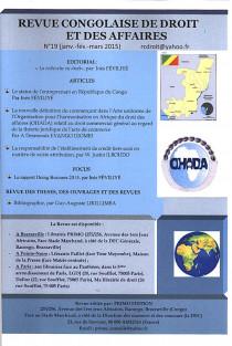 Revue congolaise de droit et des affaires, janvier-mars 2015 N°19