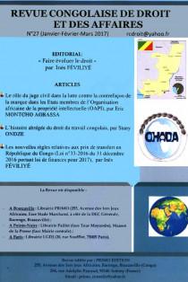 Revue congolaise de droit et des affaires, janvier-mars 2017 N°27