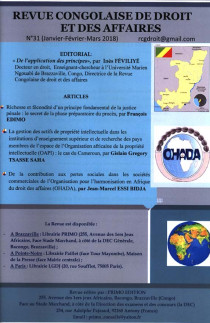 Revue congolaise de droit et des affaires, janvier-mars 2018 N°31