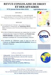 Revue congolaise de droit et des affaires, janvier-mars 2019 N°35