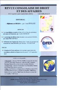 Revue congolaise de droit et des affaires, juillet-septembre 2015 N°21