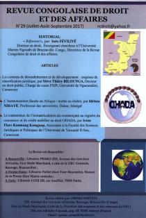 Revue congolaise de droit et des affaires, juillet-septembre 2017