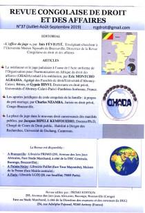 Revue congolaise de droit et des affaires, juillet-septembre 2019 N°37