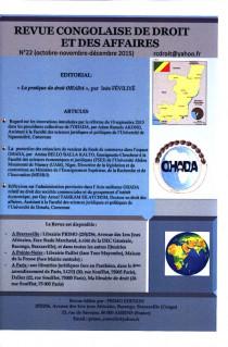 Revue congolaise de droit et des affaires, octobre-décembre 2015 N°22