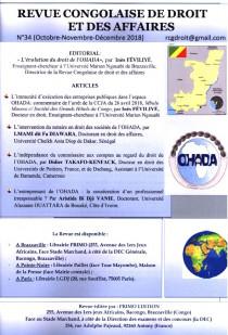 Revue congolaise de droit et des affaires, octobre-décembre 2018 N°34