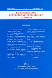 Revue congolaise des transports et des affaires maritimes, première année, août-décembre 2004 N°1