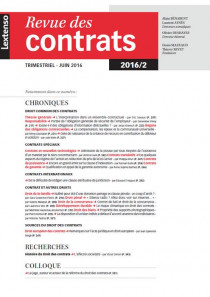 Revue des contrats RDC N°2-2016
