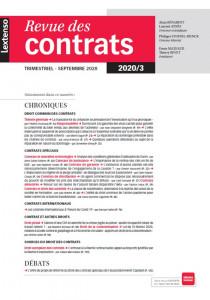 Revue des contrats RDC N°3-2020