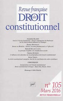 Revue française de droit constitutionnel, mars 2016 N°105