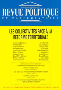 Revue politique et parlementaire, 111e année, octobre-décembre 2009 N°1053