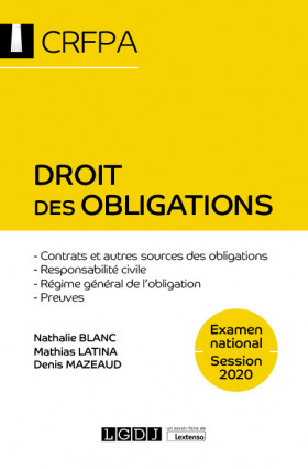 Droit des obligations - CRFPA - Examen national Session 2020