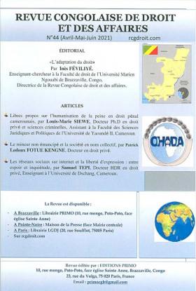 Revue congolaise de droit et des affaires, avril-juin 2021 N°44