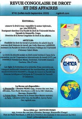 Revue congolaise de droit et des affaires, juillet-septembre 2020 N°41
