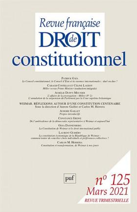 Revue française de droit constitutionnel, mars 2021 N°125