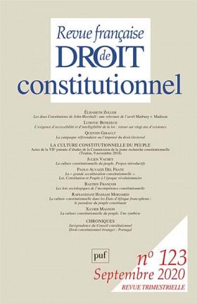 Revue française de droit constitutionnel, septembre 2020 N°123