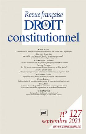 Revue française de droit constitutionnel, septembre 2021 N°127